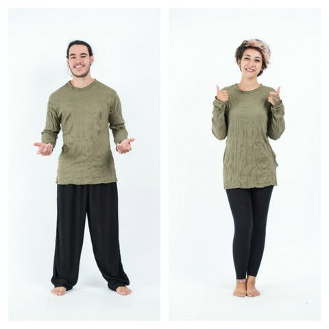 Sure Design Unisex Solid Long Sleeve Shirts Green
