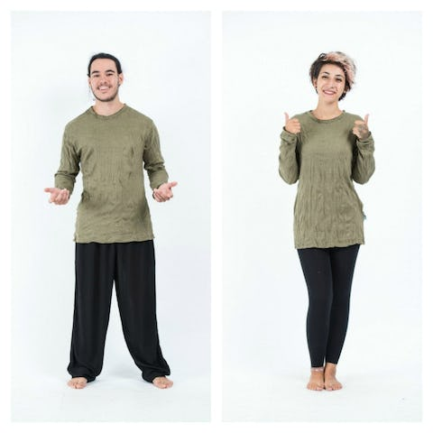 Unisex Solid Color Long Sleeve T-Shirt in Green