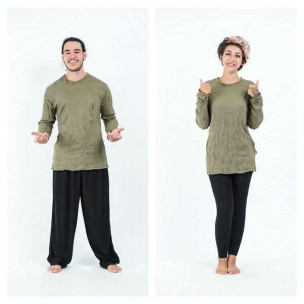 Sure Design Unisex Solid Long Sleeve Shirt Green