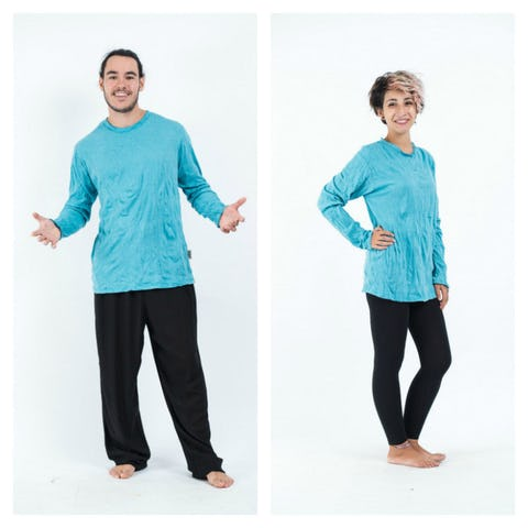 Sure Design Unisex Solid Long Sleeve Shirts Turquoise
