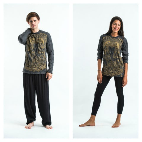 Sure Design Unisex Batman Ganesh Long Sleeve Shirt Gold on Black