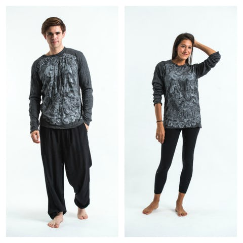 Sure Design Unisex Batman Ganesh Long Sleeve Shirts Silver on Black