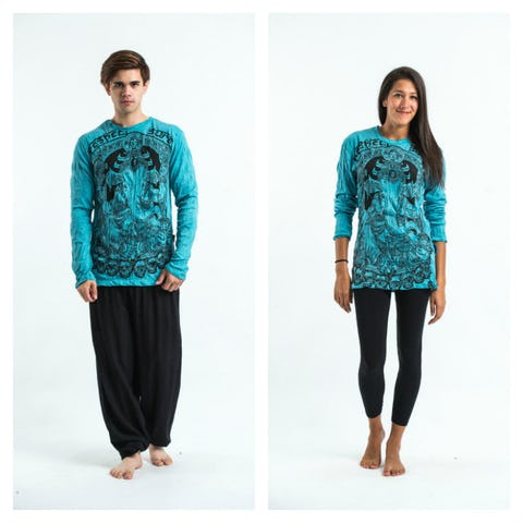 Sure Design Unisex Batman Ganesh Long Sleeve Shirt Turquoise