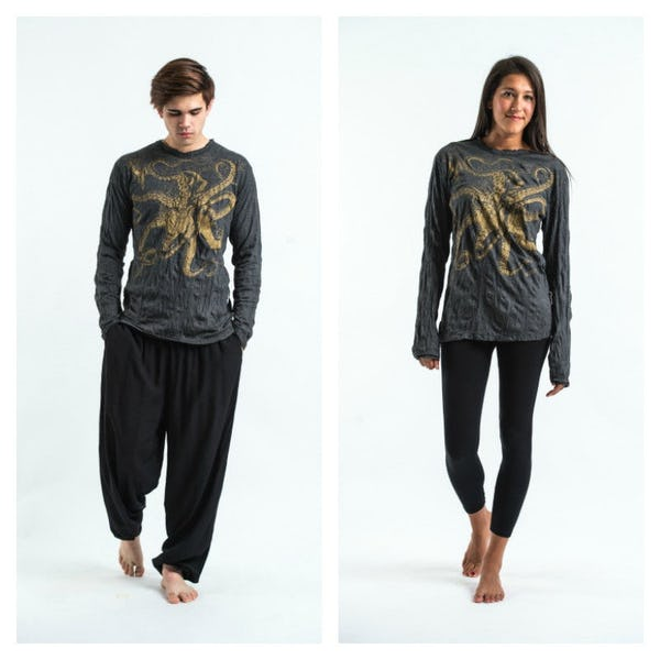 Sure Design Unisex Octopus Long Sleeve Shirts Gold on Black