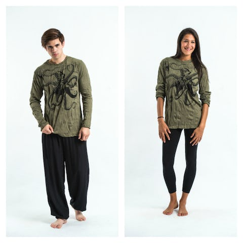 Sure Design Unisex Octopus Long Sleeve Shirts Green
