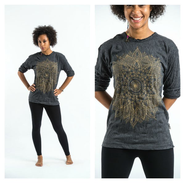 Sure Design Lotus Mandala Long Sleeve Shirts Gold on Black