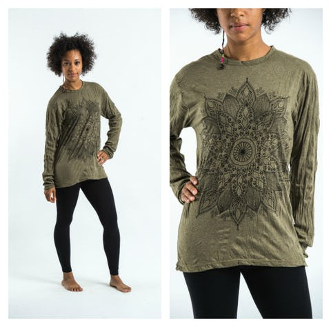 Sure Design Lotus Mandala Long Sleeve Shirts Green