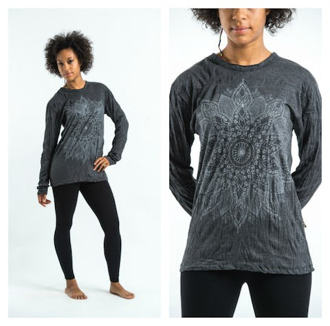 Sure Design Lotus Mandala Long Sleeve Shirts Silver on Black