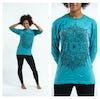 Sure Design Lotus Mandala Long Sleeve Shirts Turquoise