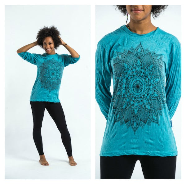 Sure Design Lotus Mandala Long Sleeve Shirt Turquoise