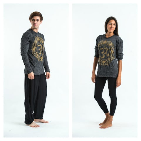 Sure Design Unisex Infinitee Ohm Long Sleeve Shirts Gold on Black