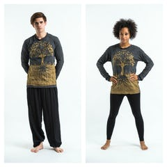 Sure Design Unisex Octopus Long Sleeve Shirt Gold on Black