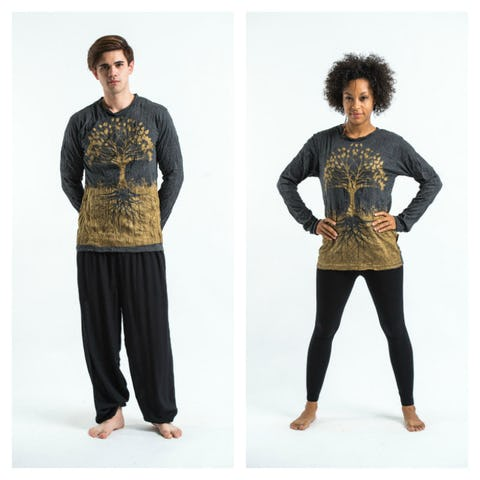 Sure Design Unisex Tree Of Life Long Sleeve Shirts Gold on Black