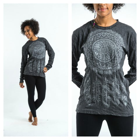 Sure Design Dreamcatcher Long Sleeve Shirts Silver on Black