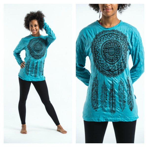 Sure Design Dreamcatcher Long Sleeve Shirts Turquoise