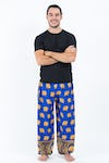 Golden Elephants Unisex Harem Pants in Blue