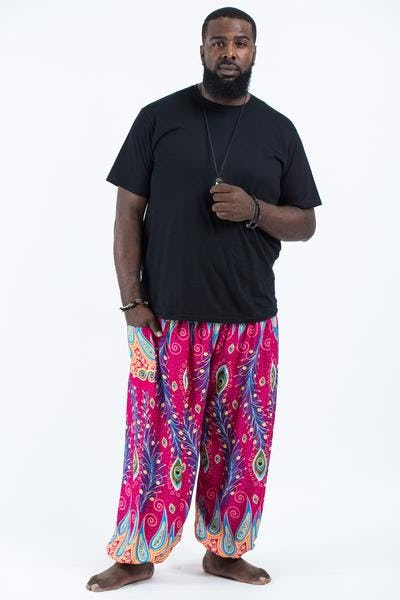 Plus Size Peacock Paisley Unisex Harem Pants in Pink