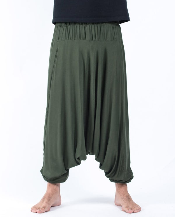 Solid Color Drop Crotch Unisex Harem Pants in Dark Green