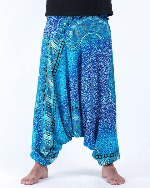 Tribal Chakras Drop Crotch Unisex Harem Pants in Blue