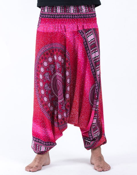Tribal Chakras Drop Crotch Unisex Harem Pants in Pink