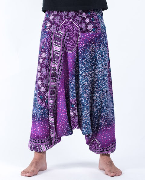 Tribal Chakras Drop Crotch Unisex Harem Pants in Purple