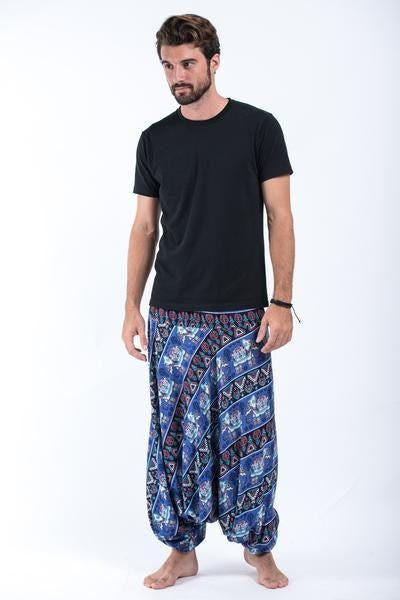 Aztec Elephant Drop Crotch Elephant Pants in Blue