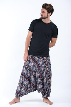 Solid Color Unisex Harem Pants in Blue