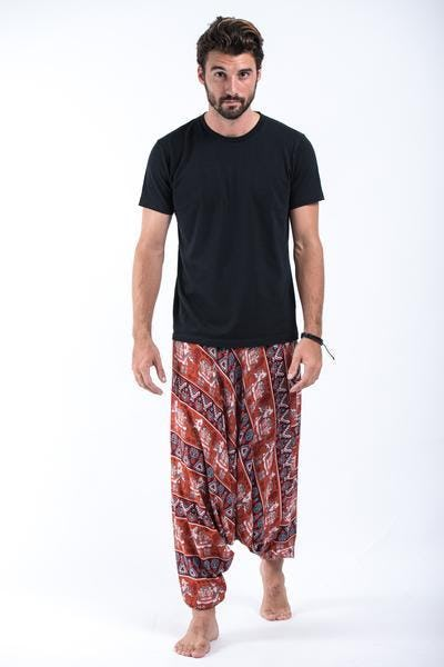 Aztec Elephant Drop Crotch Elephant Pants in Rust