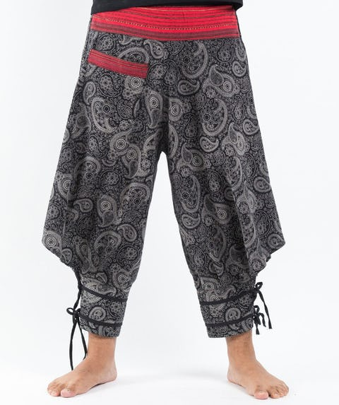 Paisley Thai Hill Tribe Fabric High Cut Harem Pants with Ankle Straps