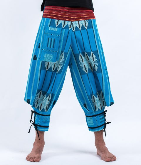 Thai Hill Tribe Fabric Harem Pants with Ankle Straps in Baby Blue