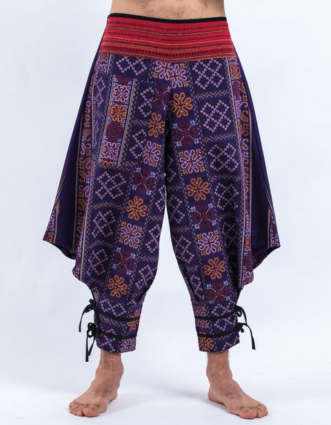 Clovers Thai Hill Tribe Fabric Men's Harem Pants with Ankle Straps in Violet