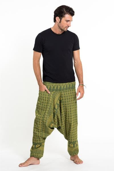 Hill Tribe Elephant Unisex Elephant Pants in Green