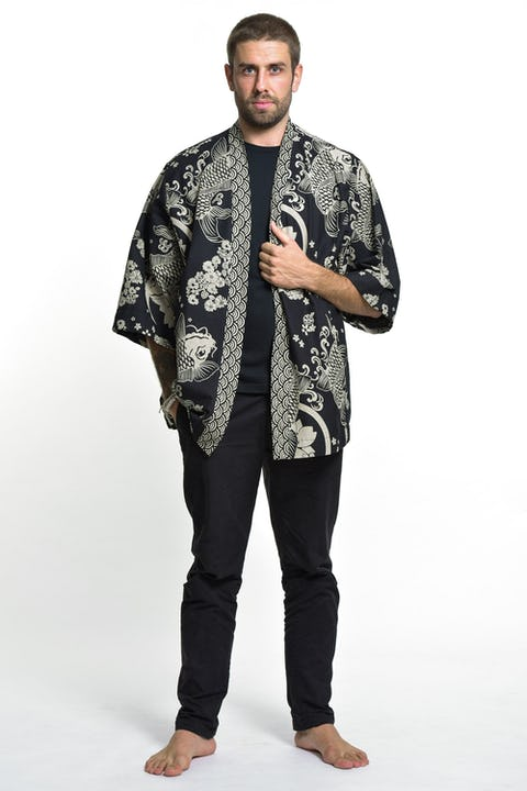 Koi Fish Print Cotton Kimono Cardigan in Black