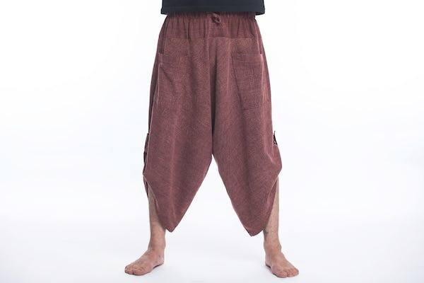 Stone Washed Large Pockets Unisex Harem Pants in Maroon