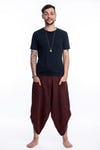 Stone Washed Large Pockets Unisex Harem Pants in Brown