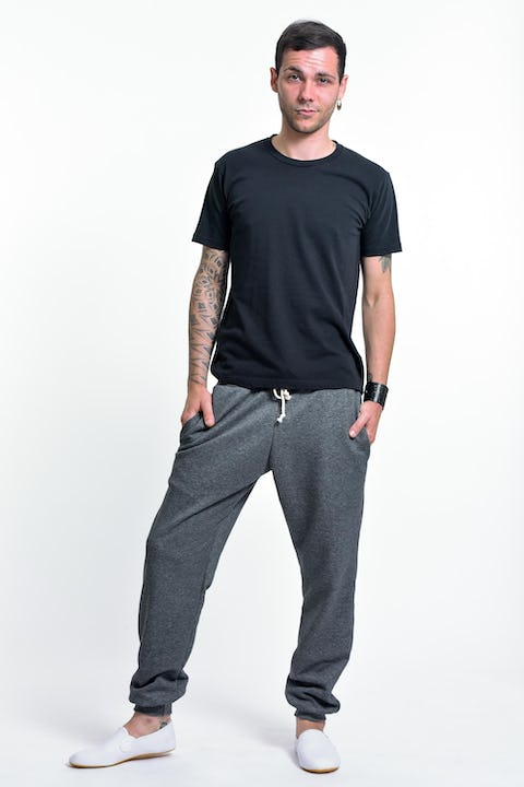 Unisex Terry Pants with Aztec Pockets in Black