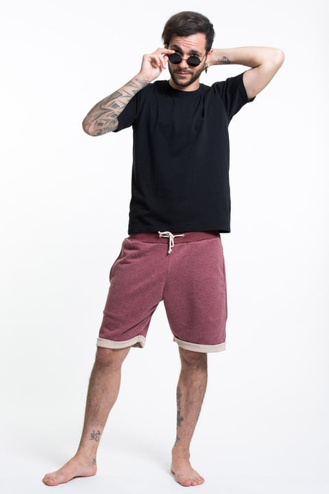 Unisex Terry Shorts with Aztec Pockets in Red