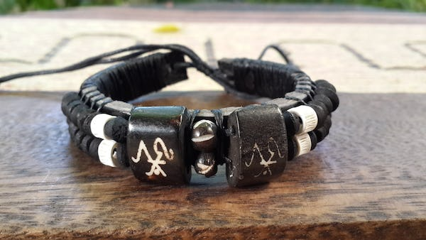 Hand Made Woven Waxed String Leather Adjustable Bracelets With Wooden Beads