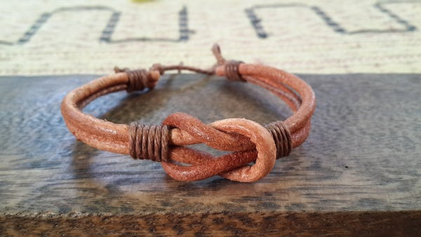 Hand Made Woven Leather Adjustable Bracelets Brown