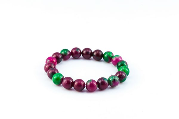 Lucky Stone Hand Made Bracelet Elastic Zoisite with Ruby