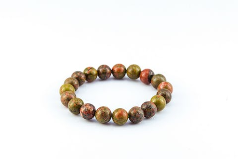 Lucky Stone Hand Made Bracelet Elastic With Unakite