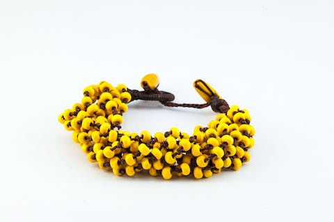 Yellow Torsade Bracelet Wood Beaded Mala Style Fair Trade