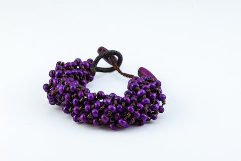 Torsade Wooden Beads Bracelet in Purple