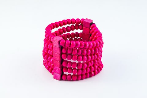 Multi Strand Wooden Beads Bracelet in Pink