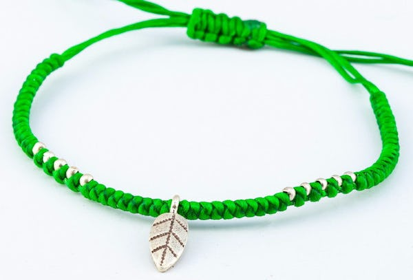 Fair Trade Thai Hill Tribe Silver Charm Waxed Cotton Bracelet Green Leaf