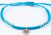Fair Trade Thai Hill Tribe Silver Charm Waxed Cotton Bracelet Turquoise Ohm