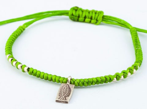 Fair Trade Thai Hill Tribe Silver Charm Waxed Cotton Bracelet Lime Fish