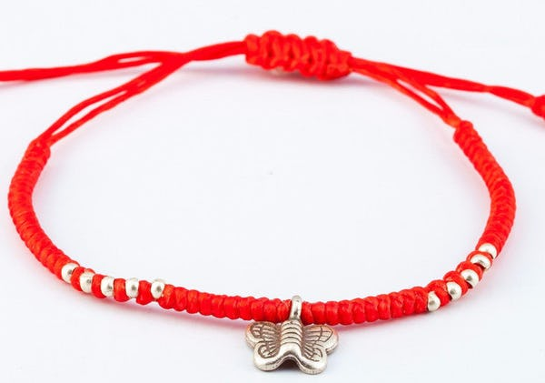 Fair Trade Thai Hill Tribe Silver Charm Waxed Cotton Bracelet Red Butterfly