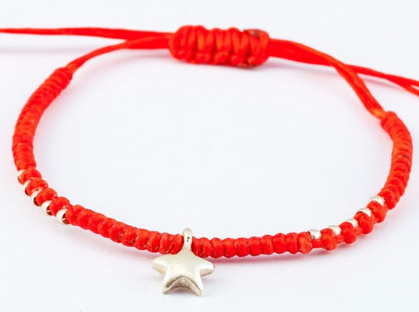 Fair Trade Thai Hill Tribe Silver Charm Waxed Cotton Bracelet Red Star