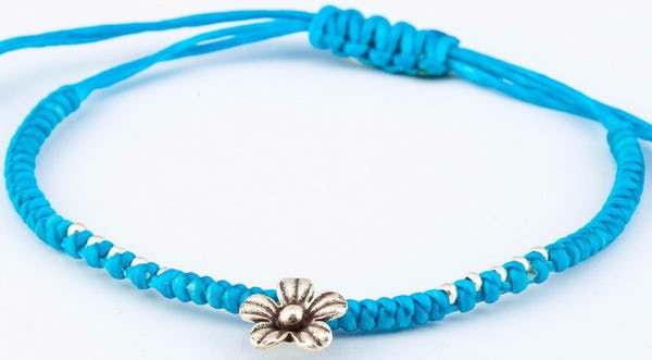 Fair Trade Thai Hill Tribe Silver Charm Waxed Cotton Bracelet Turquoise Flower